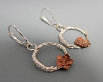 Organic Twig and Flower Earrings