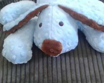 Stuffed Puppy - Dog Soft Toy -  Baby Blue -  Mocha Minky Dot Fabric - stuffed animal - minky dot dog - Plushie - Custom Colors - Floppy Ears