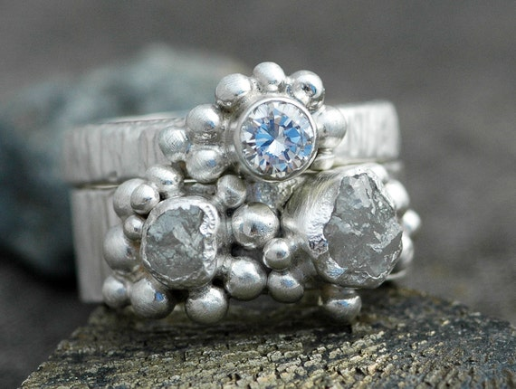 Rough and Cut Diamond Sterling Silver Stacking Ring Set- Two Custom Made Rings