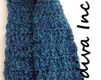 Blue Marble Scarf, Wool Scarf, Hand Crocheted Scarf