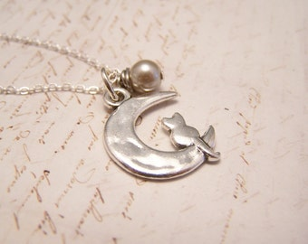 Cat and the Moon Necklace. Crescent Moon. Cat. Bewitching. Starry Night. Mystical