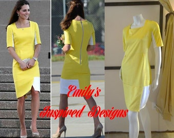 Duchess of Cambridge Kate Middleton Yellow Color Block Dress