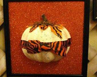 Hand Painted Halloween Thanksgiving -1/2 PUMPKIN  Frame 10X10, Off White Pumpkin with Black Splatter - Halloween Decor, Halloween Decoration