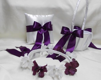 Wedding Accessories White Purple Eggplant Plum Flower Girl Basket  Flower Girl Halo Ring Bearer Pillow  Your Colors