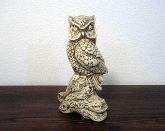 Vintage Ceramic Owl on a Log Statuette / Retro Owl Figure