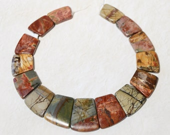 Autumn Picasso Picture JASPER Red Green Brown Trapezoidal Graduated focal bead Set 15 BEADS