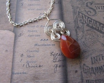 Item # 2490 Spiral Wire Wrapped Orange Agate Teardrop Pendant Necklace
