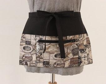 Vendor apron - Waitress apron - money apron - adjustable half apron with zipper pocket - half apron - Teacher Apron MADE to ORDER
