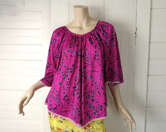 70s Fuchsia Flutter Blouse- 1970s / 80s Peasant Blouse / Bell Sleeves / Plus Size- Hot Pink / Purple / Magenta- Boho Hippie Festival
