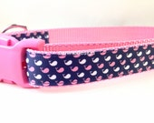 Dog Collar, Pink Navy Whales ,1 inch wide, adjustable, quick release, metal buckle, chain, martingale, hybrid, nylon