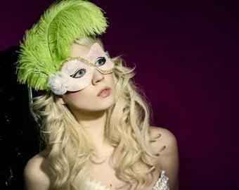 Pretty Girl Green Glitter Mask