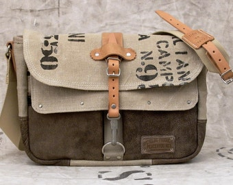 Canvas Messenger Bag, Crossbody Bag, Leather Messenger, Recycled Leatherjacket + Italian Military Bag /  Upcycled in GERMANY - 2153