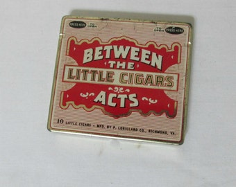 Tin Cigar Case Between the Acts Little Cigars Held 10