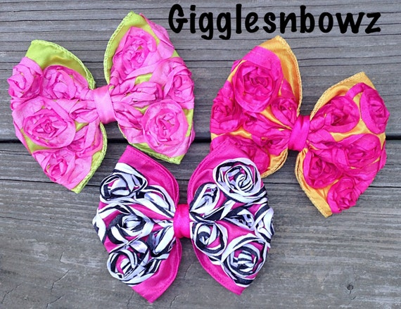 BRiGHT CoLLeCTiON- Set of THREE Satin ROSeTTe RiBBoN BoWS- 4 inch