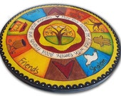 Painted Wood Burned Lazy Susan with Jewish Symbols and Tree of Life