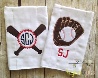 Baseball Burp Cloths - Personalized, Monogrammed, Applique