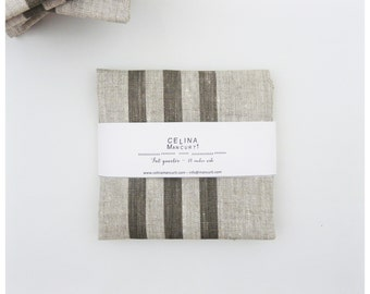 Linen Fat Quarter - stripes gray hand printed by celina mancurti - Free Shipping to USA