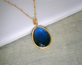 Layer Necklace, Long Layering Necklace, Long Pendant Necklace, Gold Necklace, Teardrop Necklace, Navy Blue Quartz