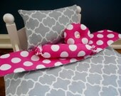 Four Piece 18 Inch Doll Bedding Set - Gray Lattice and Hot Pink Polka Dots