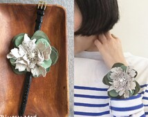 Leather watch strap bangle / lace & felt petals (green / white smoke) - BWS4