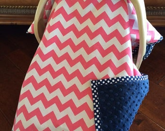 Adorable Baby Car Seat Covers - Pink CHEVRON and Navy Minky  with Navy Dot Trim - Baby Girl Car Seat - Infant Carrier