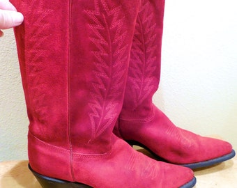vintage Suede Womens Cowboy Boot Size 7.5 Red