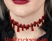 Dripping Blood Stitch Necklace Choker  -Creepy Cute Bright Red Glitter