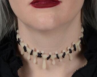 dripping Stitch Necklace Choker  -Creepy Cute Horror glow in the dark
