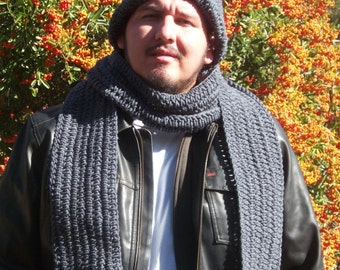 Men's Crochet Scarf and Large Hat in Charcoal Grey with Free US Shipping by DRCrafts