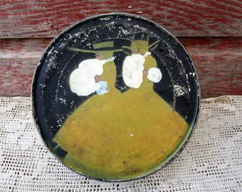 Antique shabby chippy hand painted Victorian Ladies with hand Muff Sewing Tin storage tin