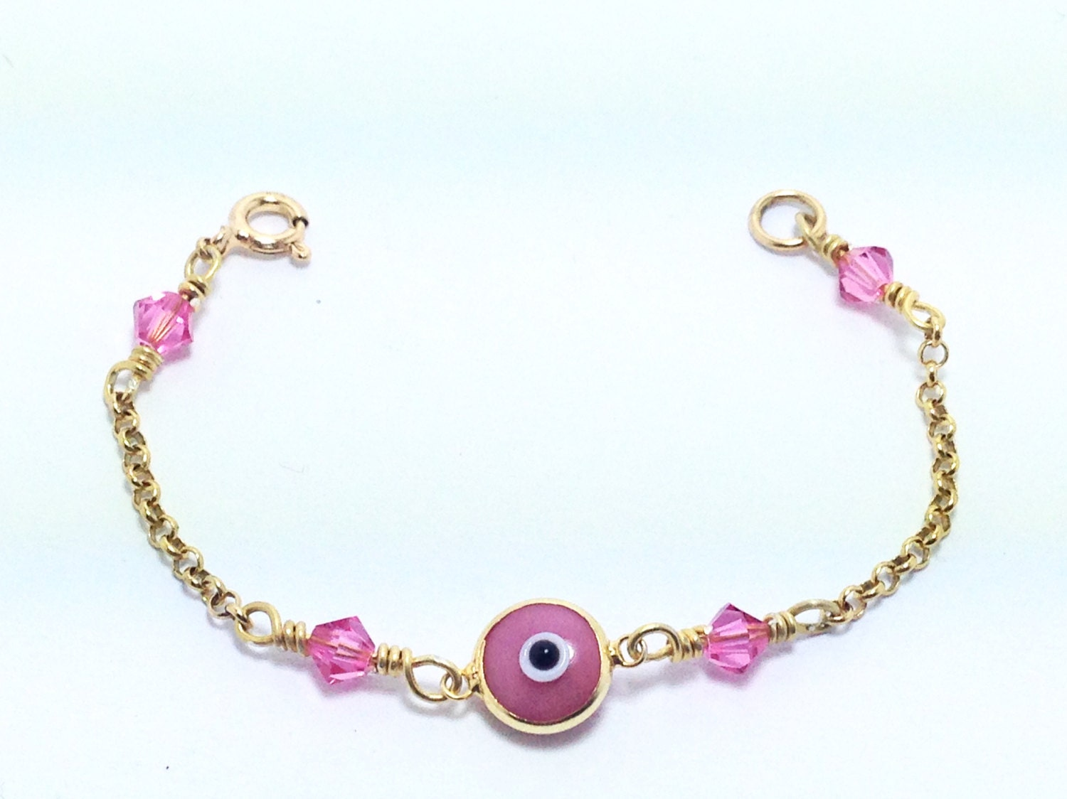 gold vermeil baby kid evil eye bracelet with swarovski