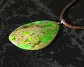 Green Sea Sediment Jasper Large Free Form Pendant Necklace with Sterling Silver Bail on Brown Braided Waxed Cotton Cord
