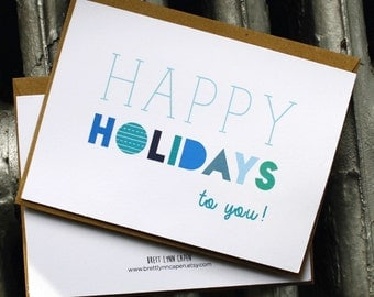 Happy Holidays Card 4 in x 5.5 in