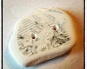 Irish Sea Pottery Button - Gray and White China...