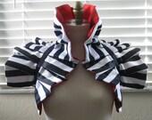 Dramatic Reversible Harley Quinn Cosplay Collar Bolero wrap EMO RINGMASTER  Burlesque Circus