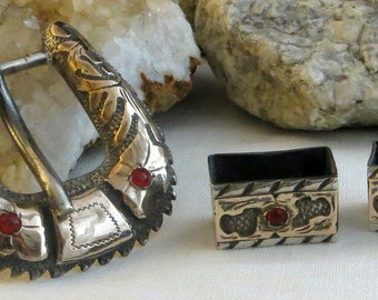 Mexico Red Stone Gold Detail Belt Buckle Sterling Silver 2 Keepers 50g