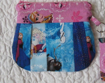 Handmade /cotton Disney Frozen Wristlet /Bags and Purses/ Elsa and Anna