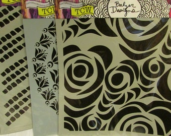 Crafters Workshop TEMPLATE BACKGROUNDS  12 x 12 Stencils Set of THREE
