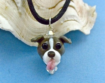 Pit Bull Terrier Necklace - Lampwork Bead SRA