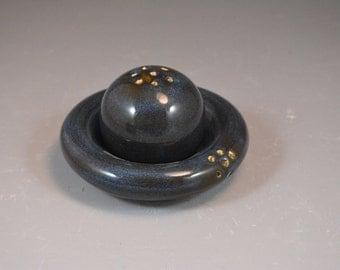 Nesting Salt and Pepper Shaker Set in Croc Blue Denim Glaze - Wheel Thrown