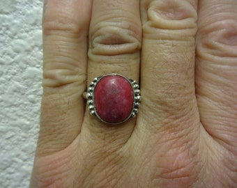 Sterling Silver Red Indian Ruby Ring - Size 9