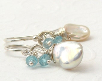 White keishi pearl earrings with Apatite, Sterling silver, wire wrapped