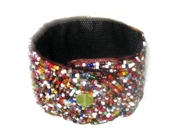 Multicolored  Beaded Cuff Bracelet - Unisex Wide Cuff