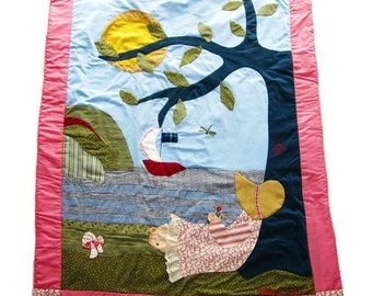 Custom Baby Quilt- Nova Scotia Dream- Girl in Sunbonnet-Tree and Sailboat