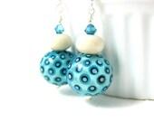 Teal Ivory Earrings, Statement Earrings, Polka Dot Earrings, Lampwork Earrings, Retro Earrings, Blue White Earrings, Glass Earrings - Peg