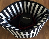 padded camera insert // dslr zipper pouch // black stripe canon rebel bag // ready to ship