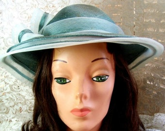Beautiful Mother of the Bride Hat - Worn in 1963 - Aqua in Color - Tea Party Hat