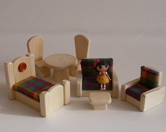 Wooden Toy, Dollhouse Living Room Bedroom Dining Doll Furniture, Gender Neutral Handmade toy, Waldorf inspired, Kids gift,Jacobs Wooden Toys