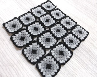 16 Pcs Crochet Granny Squares...Each Square Has 5 Rows With Black Border