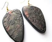 Copper Tree Hoop Earrings, Polymer Clay Earrings, Textured Earrings, Handmade Earrings, Jewelry, Gift for Her, Mom Gift